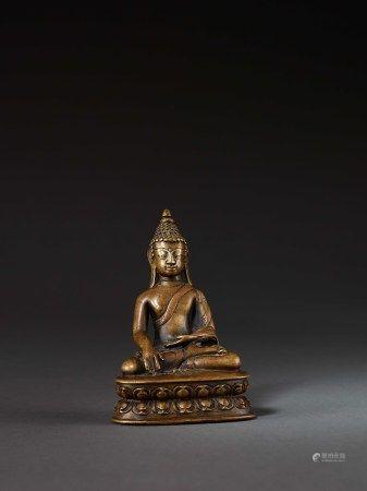 13-14世紀 藏西合金銅錯銀錯紅銅釋迦牟尼