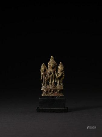 宋-元 克什米爾合金銅錯銀一佛二菩薩立像