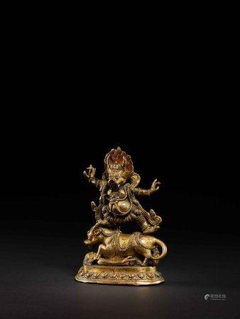 明 西藏銅鎏金閻魔天