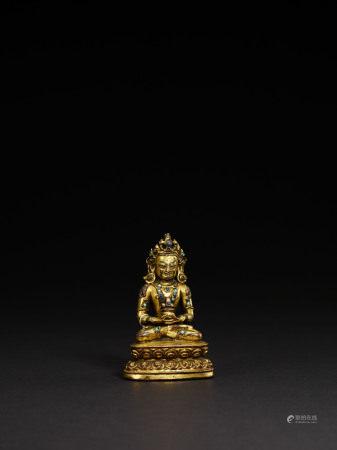 明 銅鎏金無量壽佛像