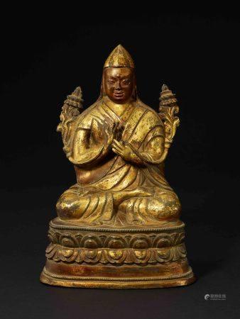 19世紀 扎派銅鎏金宗喀巴