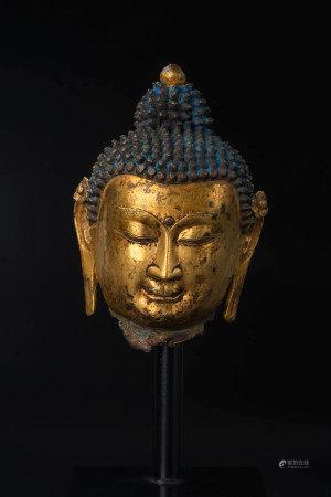 明 尼泊爾銅鎏金佛首