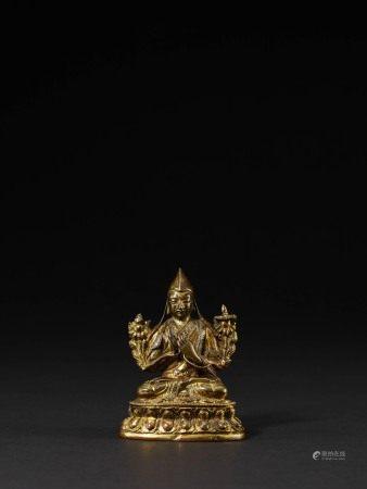 17世紀 銅鎏金宗喀巴像