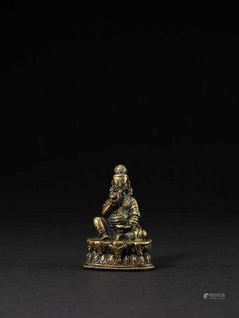 15-16世紀 銅嵌銀桑吉堅贊像(赫魯迦像)