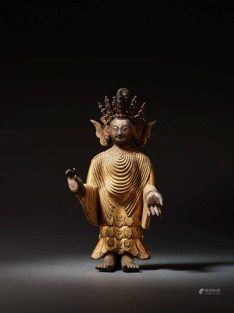 清 銅鎏金旃檀佛立像