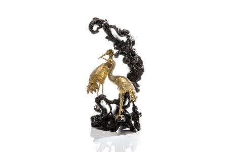 CHINESE GILT CRANES ON WOOD PINE FORM STAND