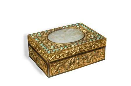 CHINESE REPUBLIC PERIOD BOX WITH MING DYNASTY JADE 明代 白玉龍紋瓦頭配銅蓋盒