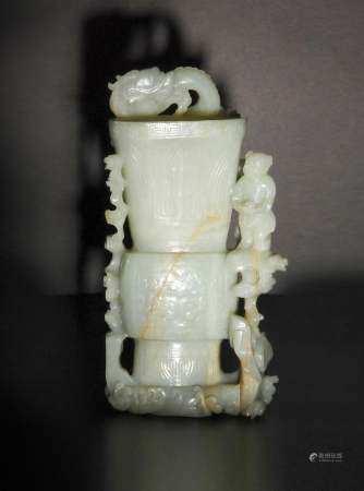 CHINESE CELADON JADE GU VASE, 18TH CENTURY 十八世纪 青白玉盘龙童子花觚