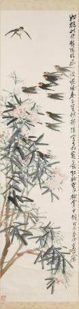 CHINESE PAINTING OF SWALLOWS BY WANG ZHENG 王震 桃花飞燕立轴
