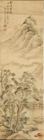 CHINESE LANDSCAPE PAINTING ATTRIBUTED TO WANG HUI 王翚款 山水镜片