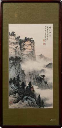 CHINESE LANDSCAPE PAINTING BY HUANG JUNBI, 1964 黄君璧 峨眉金顶镜框(1964年赠端木冠华)
