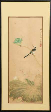 CHINESE PAINTING OF A BIRD BY ZHANG DAZHUANG 张大壮 花鸟镜框