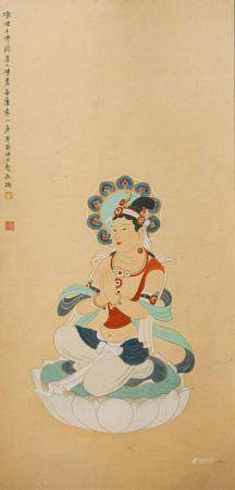 CHINESE PAINTING OF A BUDDHA BY SUN ZONGWEI 孙宗慰 敦煌菩萨立轴
