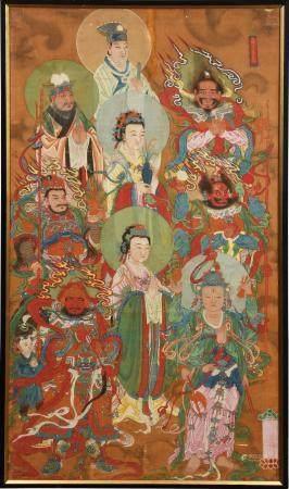 CHINESE PAINTING OF TAOIST GODS, 18TH CENTURY 十八世纪 道教水陆画