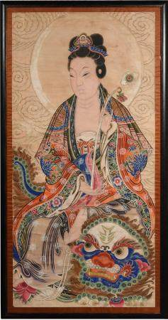 CHINESE PAINTING OF GUANYIN, 19TH CENTURY 十九世纪 观音像镜框
