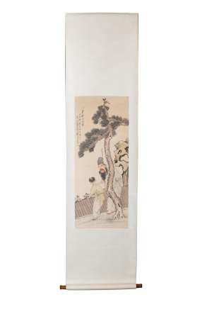 CHINESE PAINTING OF A SCHOLAR AND A BOY BY DI FAN 涤凡 松下采菊图立轴