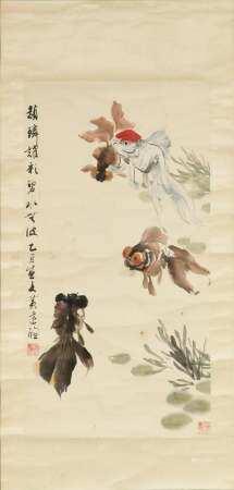 CHINESE PAINTING OF GOLDFISH BY HUANG DACHONG 黄达聪 金鱼立轴