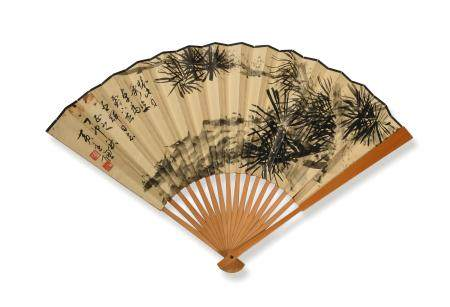 CHINESE FAN WITH PAINTING AND CALLIGRAPHY 黄达聪画竹周慧珺书法成扇