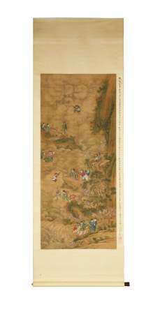 CHINESE PAINTING OF GODS WITH COMMENTARY BY YANG RENKAI 杨仁铠题跋降龙图立轴