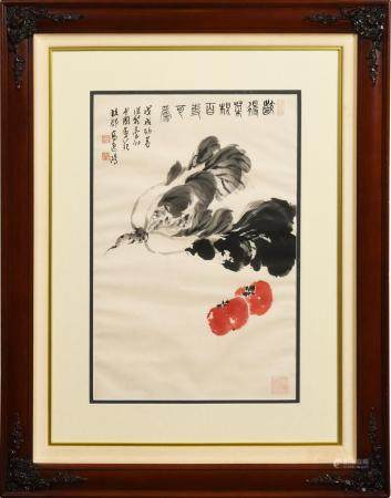 CHINESE PAINTING OF BOK CHOY AND TOMATOES BY GAO YIHONG 高逸鸿 白菜番茄镜框