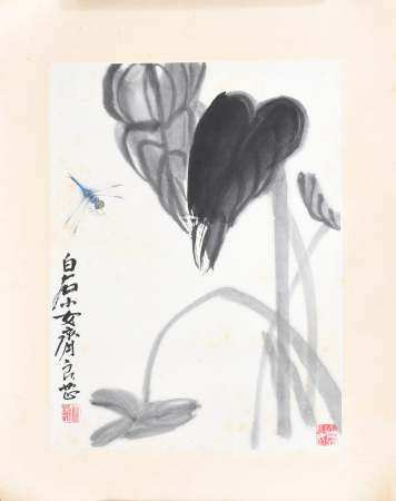 CHINESE PAINTING OF A LOTUS AND A BUG BY QI LIANGZHI 齐良芷 荷塘蜻蜓镜片