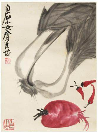 CHINESE PAINTING OF VEGETABLES BY QI LIANGZHI 齐良芷 白菜萝卜镜片