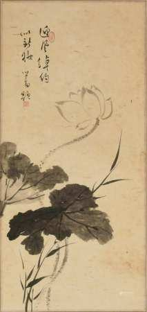 CHINESE PAINTING OF A LOTUS BY PU RU 溥儒 水墨荷花立轴
