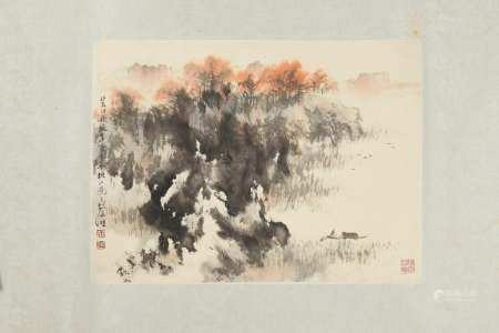 CHINESE PAINTING OF A FALL LANDSCAPE BY HU NIANZHU 胡念祖 秋色图镜心