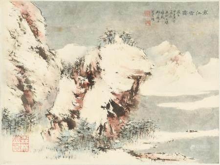 CHINESE PAINTING OF A WINTER LANDSCAPE BY HU NIANZHU 胡念祖 亚琍上款寒江雪霁镜心
