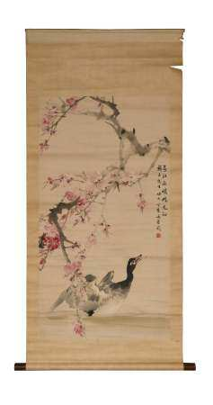 CHINESE PAINTING OF FLOWERS AND DUCKS BY ZHANG SHUQI 张书祈 春江水暖立轴