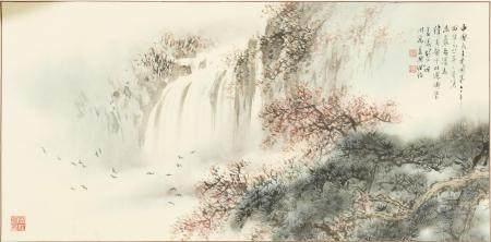 CHINESE PAINTING OF A WATERFALL BY HU NIANZHU 胡念祖 纬炎上款1981年作瀑布图镜心