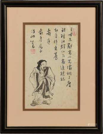 CHINESE PAINTING OF DONGFANG SHUO BY PU RU 溥儒 俞彦上款东方朔偷桃镜框
