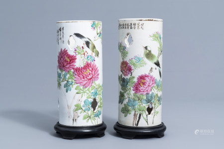 Two reticulated Chinese qianjiang cai hat stands with birds among blossoming branches, 19th/20th C.