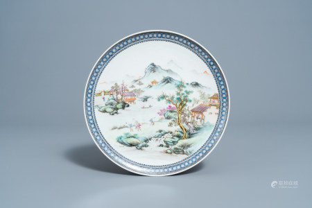 A Chinese famille rose plate with an animated river landscape, Qianlong mark, Republic, 20th C.