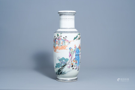 A Chinese famille rose vase with figures in a landscape, Qianlong mark, Republic, 20th C.
