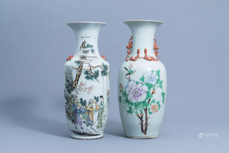 Two Chinese famille rose vases with figurative design and a bird among blossoming branches, 19th/20th C.