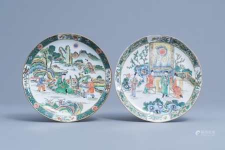 Two Chinese Canton famille verte plates with figures on a terrace, 19th C.