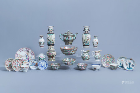 An extensive and varied collection of Chinese famille rose, verte, blue and white porcelain, 18th C. and later