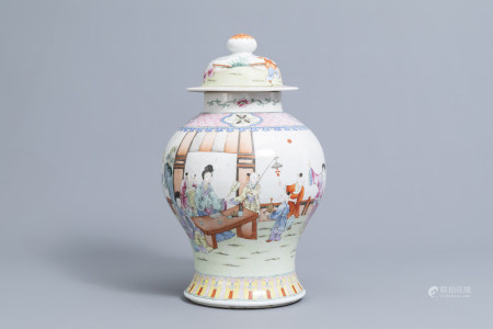 A Chinese famille rose vase and cover with figures on a terrace, 19th/20th C.