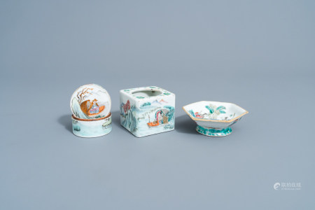 A varied collection of Chinese famille rose porcelain, 19th C.