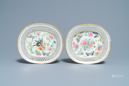 A pair of Chinese reticulated oval Canton famille rose 'butterfly' dishes, 19th C.