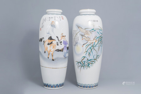Two large Chinese polychrome vases with ducks and figures in a landscape, 20th C.