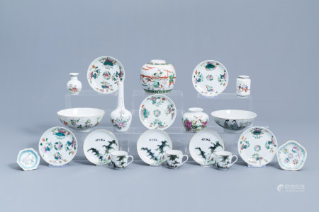 A varied collection of Chinese famille rose, verte and qianjiang cai porcelain, 19th/20th C.