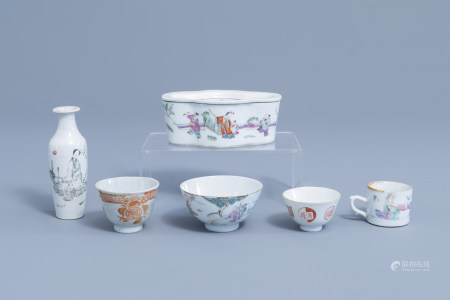 A varied collection of Chinese famille rose, iron red and qianjiang cai porcelain, 19th/20th C