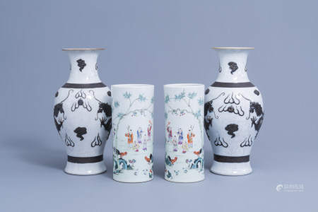 A pair of Chinese Nanking crackle glazed 'dragon' vases and a pair of famille rose hat stands with playing children, 19th/20th C.