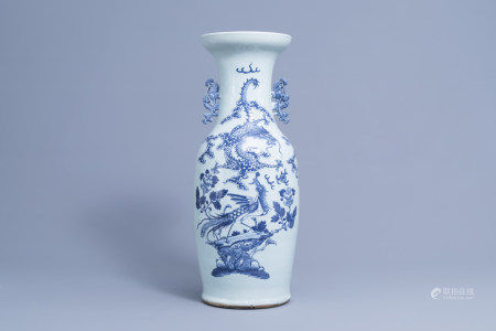 A Chinese blue and white celadon ground 'dragon and phoenix' vase, 19th C.