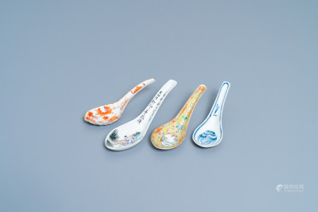 Four various Chinese spoons, 19th/20th C.