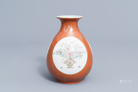 A fine Chinese famille rose 'yuhuchunping' vase with coral red ground and floral design, Qianlong mark, Republic, 20th C.