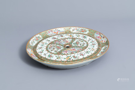 A large Chinese Canton famille rose strainer on stand, 19th C.