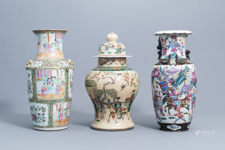 Three various Chinese Canton and Nanking crackle glazed famille rose and verte vases, 19th C.
